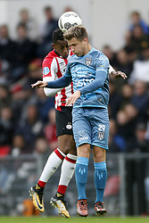 (L-R), Joshua Brenet of PSV, Reuven Niemeijer of Heracles Almelo during the Dutch Eredivisie match between PSV Eindhoven and Heracles Almelo at the Phillips stadium on October 22, 2017 in Eindhoven, The Netherlands