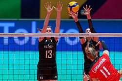 08–01-2020 NED: Olympic qualification tournament women, Apeldoorn<br /> Belgium - Germany / Marlies Janssens #13 of Belgium, Britt Herbots #3 of Belgium