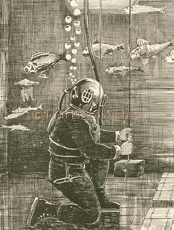 'Alexander Lambert (c1837-1892) lead diver for Siebe and Gorman, recovering gold from thre wreck of the Spanish mail steamer 'Alfonso XII' which sank off Grand Canary. Engraving, 1895.'