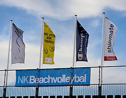 19-08-2011 VOLLEYBAL: NK BEACH VOLLEYBAL: SCHEVENINGEN<br /> Beach Swatch Tour, strand, zee, HP, beach item, vlaggen, banners, NK Beachvolleybal<br /> ©2011-FotoHoogendoorn.nl