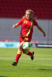 LLANELLI, WALES - Thursday, August 22, 2013: Wales' Amy Wathan in action against England during the Group A match of the UEFA Women's Under-19 Championship Wales 2013 tournament at Parc y Scarlets. (Pic by David Rawcliffe/Propaganda)