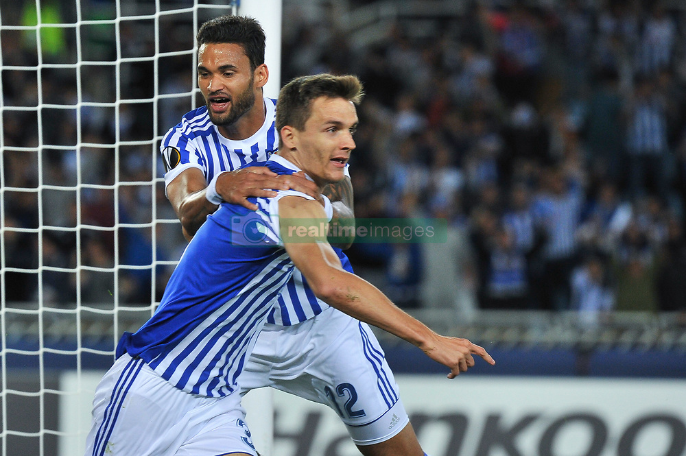 September 14, 2017 - San Sebastian, Gipuzkoa - Basque Country, Spain - Llorente of Real Sociedad celebrates his goal after scoring against Willian Jose during the UEFA Europa League Group L football match between Real Sociedad and Rosenborg BK at the Anoeta Stadium, on 14 september 2017 in San Sebastian, Spain  (Credit Image: © Jose Ignacio Unanue/NurPhoto via ZUMA Press)
