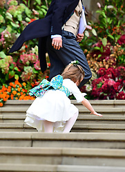 Princess Charlotte falls on the steps, as the bridesmaids and page boys arrive for the wedding of Princess Eugenie to Jack Brooksbank at St George's Chapel in Windsor Castle.