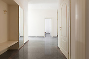 Architecture, corridor view of empty apartment, marble floor