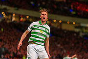 GOAL! - Kristoffer Ajer of Celtic FC celebrates his teams opening goal during the Betfred Scottish League Cup Final match between Rangers and Celtic at Hampden Park, Glasgow, United Kingdom on 8 December 2019.