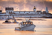 Goat Island Lighthouse and part of the lobster fleet at Cape Porpoise sit idle on a sub zero morning in January.