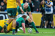 Devin Toner of Ireland celebrates a try with Tadhg Furlong of Ireland during the Australian Wallabies vs Ireland second Mitsubishi Estate test match at AAMI Park, Melbourne, Australia on 16 June 2018. Picture by Martin Keep.