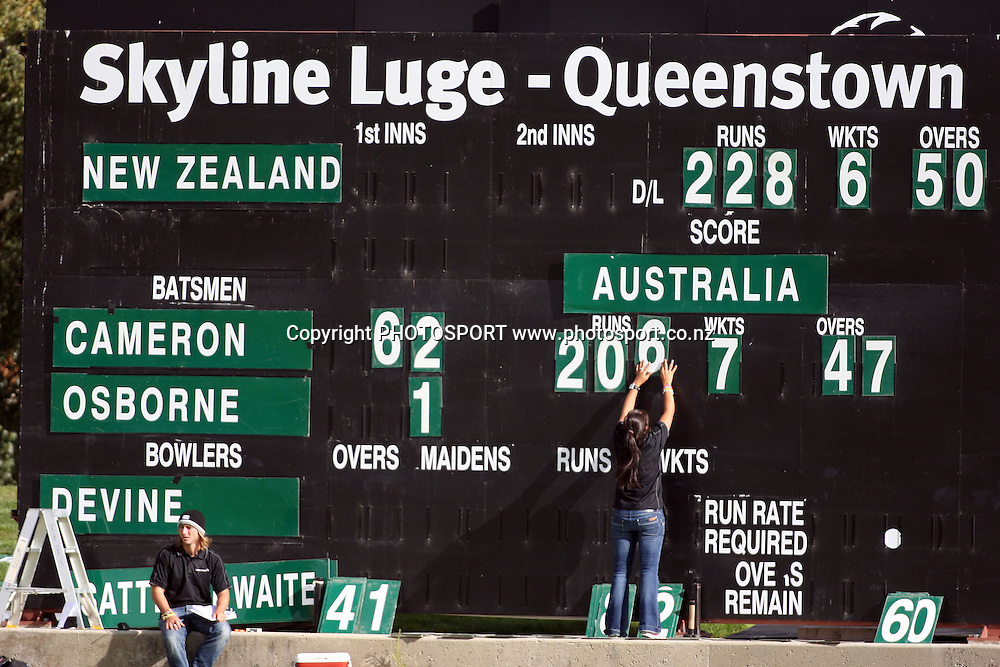 Queenstown scoreboard, New Zealand White Ferns v Australia, Rosebowl cricket series, One day international, Queenstown Events Centre, Queenstown. 3 March 2010. Photo: William Booth/PHOTOSPORT