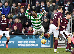 CelticÕs Moussa Dembele is brought down by Hearts Rafal Grzelak during the Ladbrokes Scottish Premiership match at Tynecastle Stadium, Edinburgh.