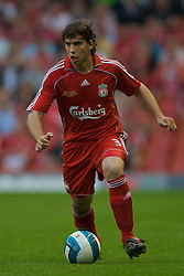 LIVERPOOL, ENGLAND - Wednesday, May 7, 2008: Liverpool's Emiliano Insua in action against Aston Villa during the play-off final of the FA Premier League Reserve League at Anfield. (Photo by David Rawcliffe/Propaganda)