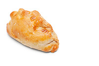 Fresh Cornish pastry over white background