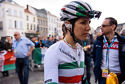 Elena gets serious as the start approaches - Women's Ronde van Vlaanderen 2016. A 141km road race starting and finishing in Oudenaarde, Belgium on April 3rd 2016.