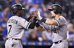 September 11, 2017 - Kansas City, MO, USA - Chicago White Sox's Adam Engel is congratulated by Tim Anderson after Engel hit a three-run home run in the sixth inning during Monday's baseball game against the Kansas City Royals on Sept. 11, 2017 at Kauffman Stadium in Kansas City, Mo. (Credit Image: © John Sleezer/TNS via ZUMA Wire)