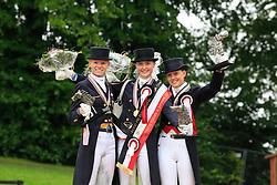 Prize giving Young Riders Kür  : <br /> 1. Sanneke Rothenberger (GER)<br /> 2. Annabel Frenzen (GER)<br /> 3. Cathrine Dufour (DEN)<br /> European Championship Dressage Young Riders - Broholm 2011