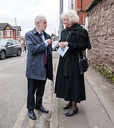March 22, 2019 - Newport, Monmouthshire, UK - Newport, Monmouthshire, UK. Funeral of Paul Flynn, Labour MP for Newport West from the 1987 general election until his death, at St Woolos Cathedral. JEREMY CORBYN, leader of the Labour Party, talks to RUTH JONES, Labour Parliamentary candidate for the Newport West by-election, after leaving the funeral where he gave a speech during the service. (Credit Image: © Simon Chapman/London News Pictures via ZUMA Wire)