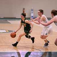 1st year guard Faith Reid (13) of the Regina Cougars during the Women's Basketball home game on January 6 at Centre for Kinesiology, Health and Sport. Credit: Arthur Ward/Arthur Images
