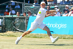 July 20, 2018 - Newport, RI, U.S. - NEWPORT, RI - JULY 20: Dudi Sela (ISR) returns to Steve Johnson (USA) during their quarterfinal match up of the Dell Technologies Hall of Fame Open at the International Tennis Hall of Fame in Newport, Rhode Island on July 20, 2018. Johnson won the match 6-2, 6-3 and advanced to the semifinals. (Photo by Andrew Snook/Icon Sportswire) (Credit Image: © Andrew Snook/Icon SMI via ZUMA Press)