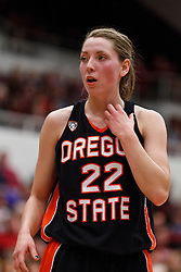 February 24, 2011; Stanford, CA, USA;  Oregon State Beavers guard Sage Indendi (22) before a free throw against the Stanford Cardinal during the first half at Maples Pavilion.  Stanford defeated Oregon State 73-37.