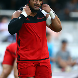 DURBAN, SOUTH AFRICA - MARCH 26: Jordan Taufua of the BNZ Crusaders during the Super Rugby match between Cell C Sharks and BNZ Crusaders at Growthpoint Kings Park on March 26, 2016 in Durban, South Africa. (Photo by Steve Haag)<br /> <br /> images for social media must have consent from Steve Haag