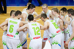 Players of Slovenia during basketball match between National teams of Slovenia and Lithuania in First Round of U20 Men European Championship Slovenia 2012, on July 14, 2012 in Domzale, Slovenia.  (Photo by Vid Ponikvar / Sportida.com)