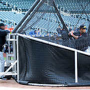 NEW YORK, NEW YORK - APRIL 12: Batting coach Barry Bonds, (left), watching Giancarlo Stanton in the batting cage during batting practice before the Miami Marlins Vs New York Mets MLB regular season ball game at Citi Field on April 12, 2016 in New York City. (Photo by Tim Clayton/Corbis via Getty Images)