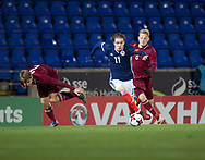 10th November 2017, McDiarmid Park, Perth, Scotland, UEFA Under-21 European Championships Qualifier, Scotland versus Latvia; Scotland's Scott Wright goes past Latvia's Vladislavs Sorokins and Latvia's Andrejs Ciganiks