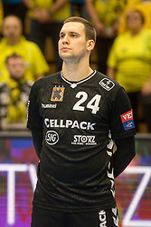 Nik Tominec of Kadetten Schaffhausen during handball match between RK Gorenje Velenje and Kadetten Schaffhausen in VELUX EHF Champions League, on November 25, 2017 in Rdeca Dvorana, Velenje, Slovenia. Photo by Ziga Zupan / Sportida