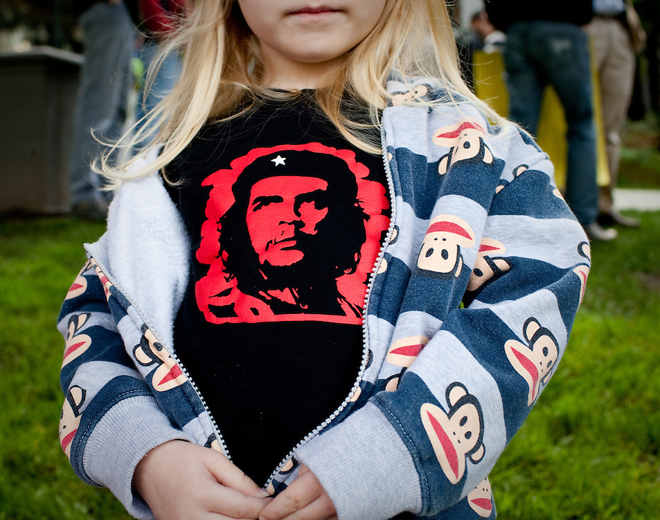 Mia, the daughter of Deniel Frederick who is running for State Assembly is seen wearing Che Guevara t-shirt  at the protest against further education budget cut held today March 4, 2010 at the State Capitol, Sacramento California.