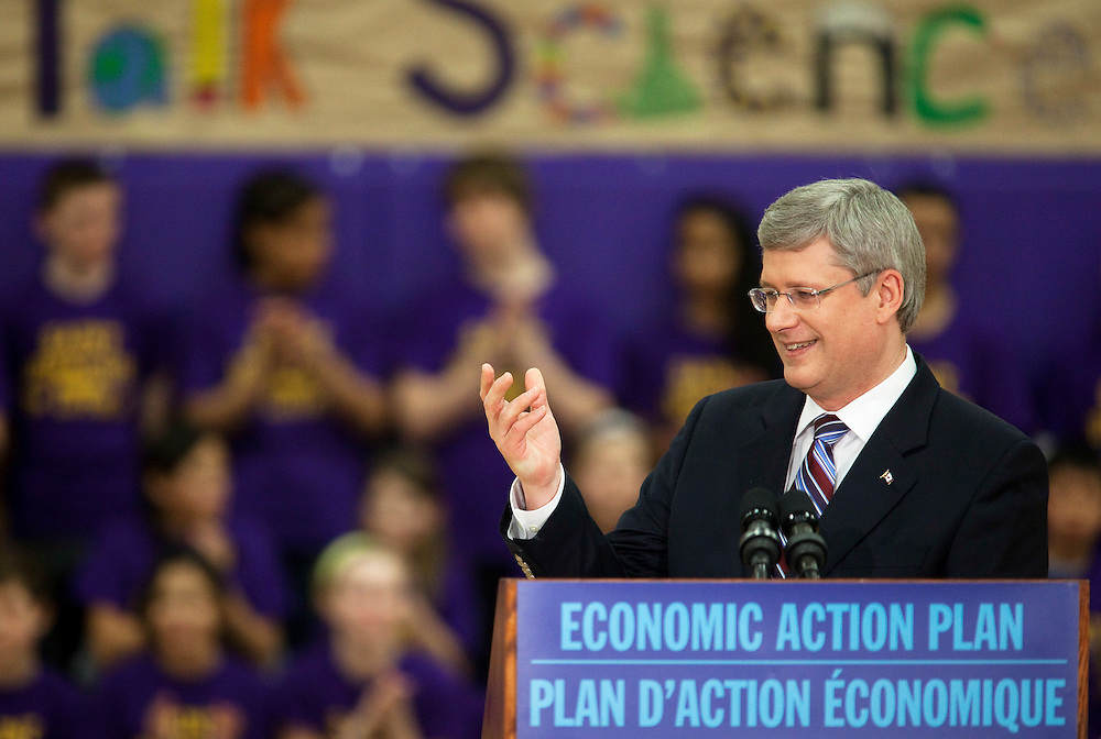 Prime Minister Stephen Harper speaks to students at St. Ignatius of Loyola School in Guelph Ontario, Friday, March 11, 2011 where he announced funding for science education programs.<br /> THE CANADIAN PRESS/ Geoff Robins