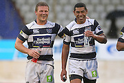 Auckland's Daniel Braid and Charles Piutau share a laugh after the win. ITM Cup rugby union match, Bay of Plenty v Auckland at Bay Park Stadium, Mt Maunganui, New Zealand. Saturday 14th August 2010. Photo: Anthony Au-Yeung/PHOTOSPORT