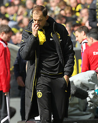 17.04.2016, Signal Iduna Park, Dortmund, GER, 1. FBL, Borussia Dortmund vs Hamburger SV, 30. Runde, im Bild Thomas Tuchel (Trainer, Borussia Dortmund) nachdenklich // during the German Bundesliga 30th round match between Borussia Dortmund and Hamburger SV at the Signal Iduna Park in Dortmund, Germany on 2016/04/17. EXPA Pictures © 2016, PhotoCredit: EXPA/ Eibner-Pressefoto/ Deutzmann<br /> <br /> *****ATTENTION - OUT of GER*****