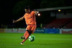 LEYLAND, ENGLAND - Friday, September 1, 2017: Liverpool's Paulo Alves scores the fourth penalty as his side win the shoot-out 5-4 during the Lancashire Senior Cup Final match between Fleetwood Town and Liverpool Under-23's at the County Ground. (Pic by Propaganda)
