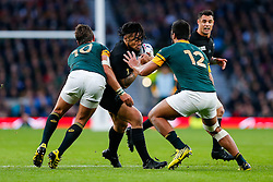 New Zealand Inside Centre Ma'a Nonu is tackled by South Africa Fly-Half Handre Pollard and Inside Centre Damian De Allende - Mandatory byline: Rogan Thomson/JMP - 07966 386802 - 24/10/2015 - RUGBY UNION - Twickenham Stadium - London, England - South Africa v Wales - Rugby World Cup 2015 Semi Finals.