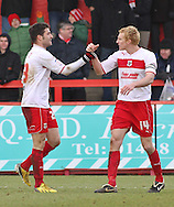 Picture by David Horn/Focus Images Ltd +44 7545 970036.16/03/2013.Dani Lopez of Stevenage celebrates scoring with Mark Roberts, Captain during the npower League 1 match at the Lamex Stadium, Stevenage.