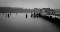 The abandoned Seabeck Marina weathers a gloomy rainy day in monochrome on Seabeck Bay on the Hood Canal of Puget Sound, Washington, USA.