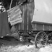 Horse drawn caravan, Glastonbury, Somerset, 1989