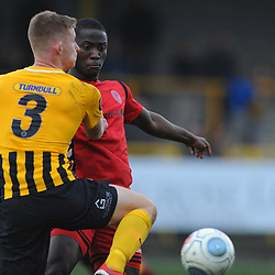 TELFORD COPYRIGHT MIKE SHERIDAN 2/3/2019 - Dan Udoh of AFC Telford battles for the ball with Ashley Jackson during the National League North fixture between Boston United and AFC Telford United at the York Street Jakemans Stadium