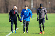 Steven Naismith (#14) of Heart of Midlothian chats with physio Craig Maitland (centre) and Aaron Hughes (#16) of Heart of Midlothian, ahead of the visit of Rangers in the Scottish Premiership on 1st December 2018, at Oriam Sports Performance Centre, Riccarton, Scotland on 30 November 2018.