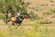 Major Marcus Reno retreats portrayed by Keith Herrin, Battle of the Little Bighorn Reenactment, Montana