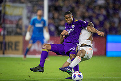 May 13, 2018 - Orlando, FL, U.S. - ORLANDO, FL - MAY 13: Orlando City forward Stefano Pinho (29) goes for the ball during the soccer match between the Orlando City Lions and Atlanta United on May 13, 2018 at Orlando City Stadium in Orlando, FL. (Photo by Joe Petro/Icon Sportswire) (Credit Image: © Joe Petro/Icon SMI via ZUMA Press)