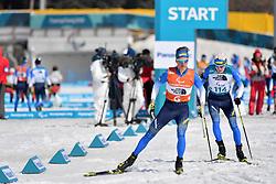 MAKHOTKIN Oleksandr UKR B3 Guide: NIKULIN Denys competing in the ParaBiathlon, Para Biathlon at  the PyeongChang2018 Winter Paralympic Games, South Korea.