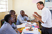 VSO volunteer Paul Jennings  during a training session for all the teachers in the school to improve teaching methodologies in classrooms. Angaza school, Lindi, Tanzania