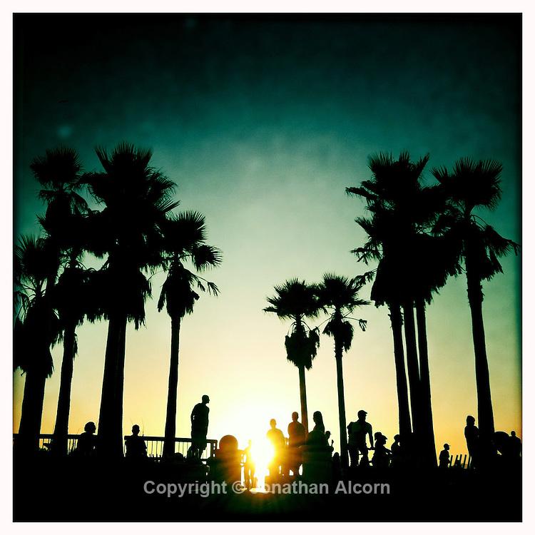 The sun sets at the Venice Beach Skate Park