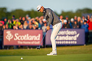 Bernd Wiesberger (AUT) putts on the 18th green during the play-off of the Aberdeen Standard Investments Scottish Open at The Renaissance Club, North Berwick, Scotland on 14 July 2019.