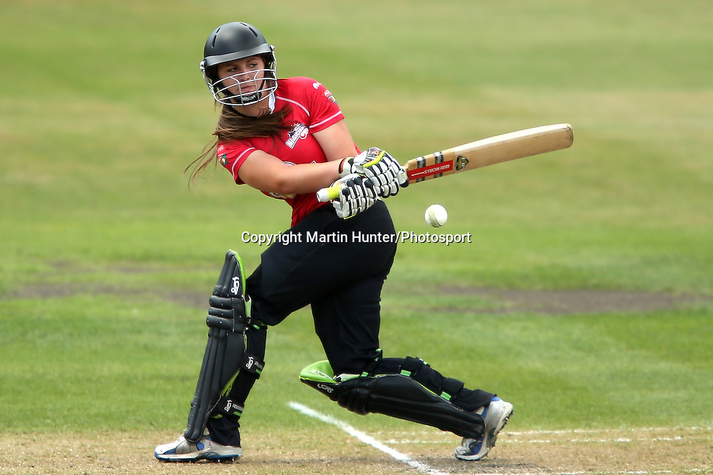 Canterbury's Natalie Cox bats during the Women's T20 Cricket Final between Canterbury Magicians and Wellington Blaze at Mainpower Oval, Rangiora on Saturday 12 January 2013. Photo: Martin Hunter/Photosport.co.nz