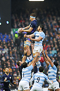 Safe lineout take by James Ritchie during the Autumn Test match between Scotland and Argentina at Murrayfield, Edinburgh, Scotland on 24 November 2018.