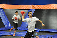 Rob McGarry (right) of Philadelphia, Pennsylvania throws the ball in the semi finals during the Ultimate Dodgeball championship Monday June 6, 2016 in Levittown, Pennsylvania. The winner moves on to compete in Las Vegas for the national title. (Photo by William Thomas Cain)