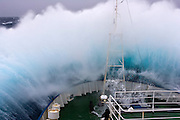 February 4th 2007. Southern Ocean. Greenpeace ship M.Y. Esperanza on her route towards Antarctica on a Force 10 storm.