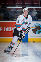 KELOWNA, CANADA - DECEMBER 28: Tate Coughlin #18 of Kelowna Rockets warms up against the Kamloops Blazers on December 28, 2015 at Prospera Place in Kelowna, British Columbia, Canada.  (Photo by Marissa Baecker/Shoot the Breeze)  *** Local Caption *** Tate Coughlin;