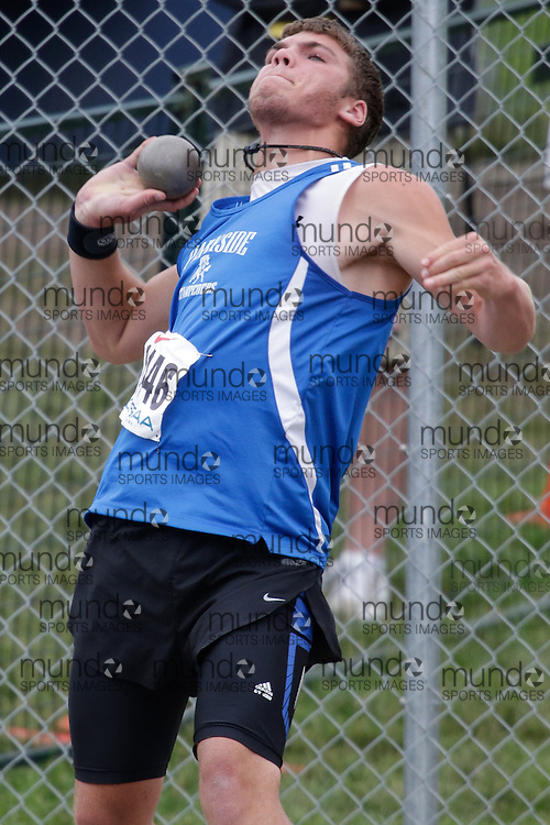 Noah Rolph of Parkside CI - St. Thomas competes in the junior boys shot put at the 2013 OFSAA Track and Field Championship in Oshawa Ontario, Friday,  June 7, 2013.<br />